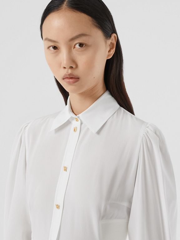 Logo Detail Cut-out Silk Shirt in Optic White - Women | Burberry - cell image 1