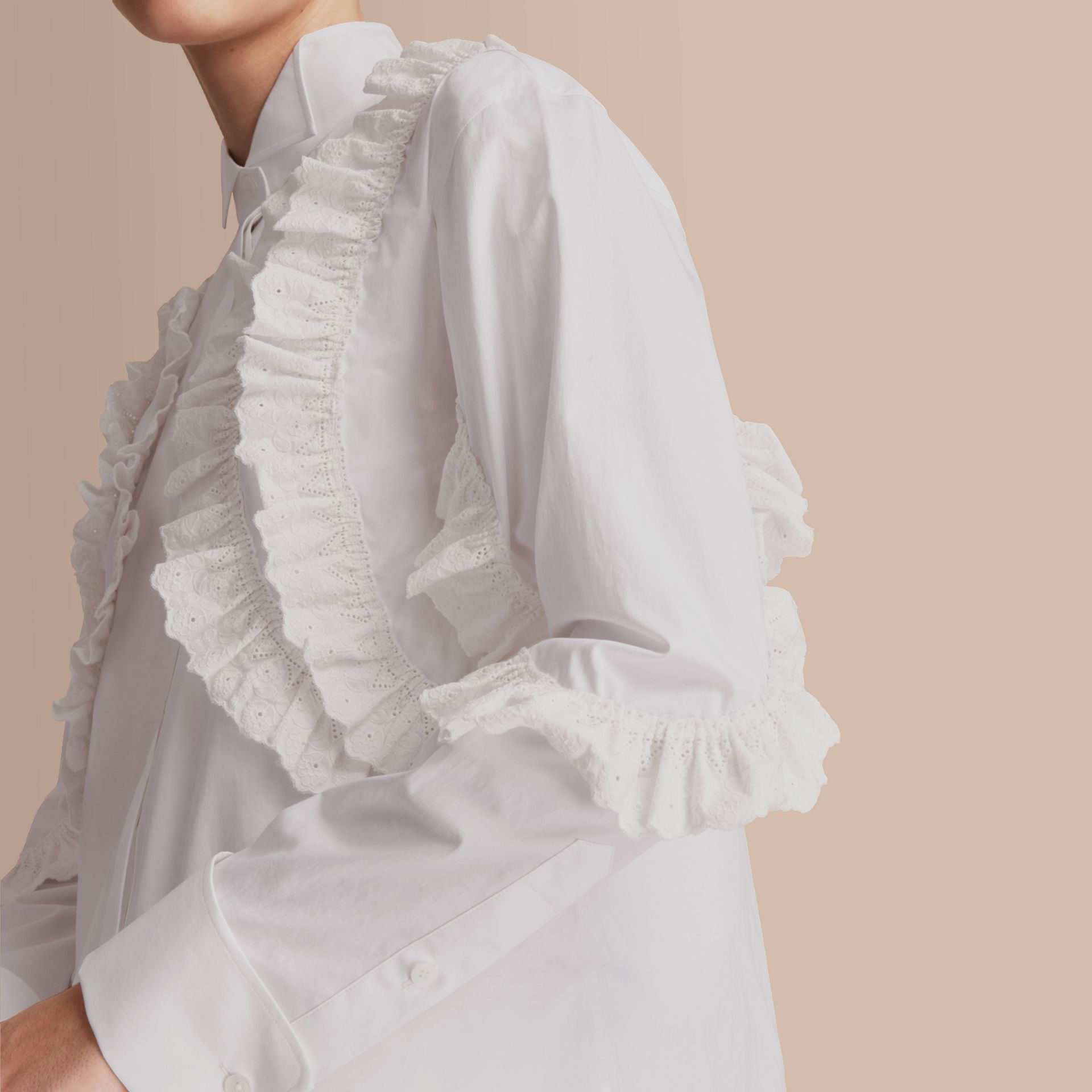 Broderie Anglaise Ruffle Stretch Cotton Shirt - Women | Burberry - gallery image 5