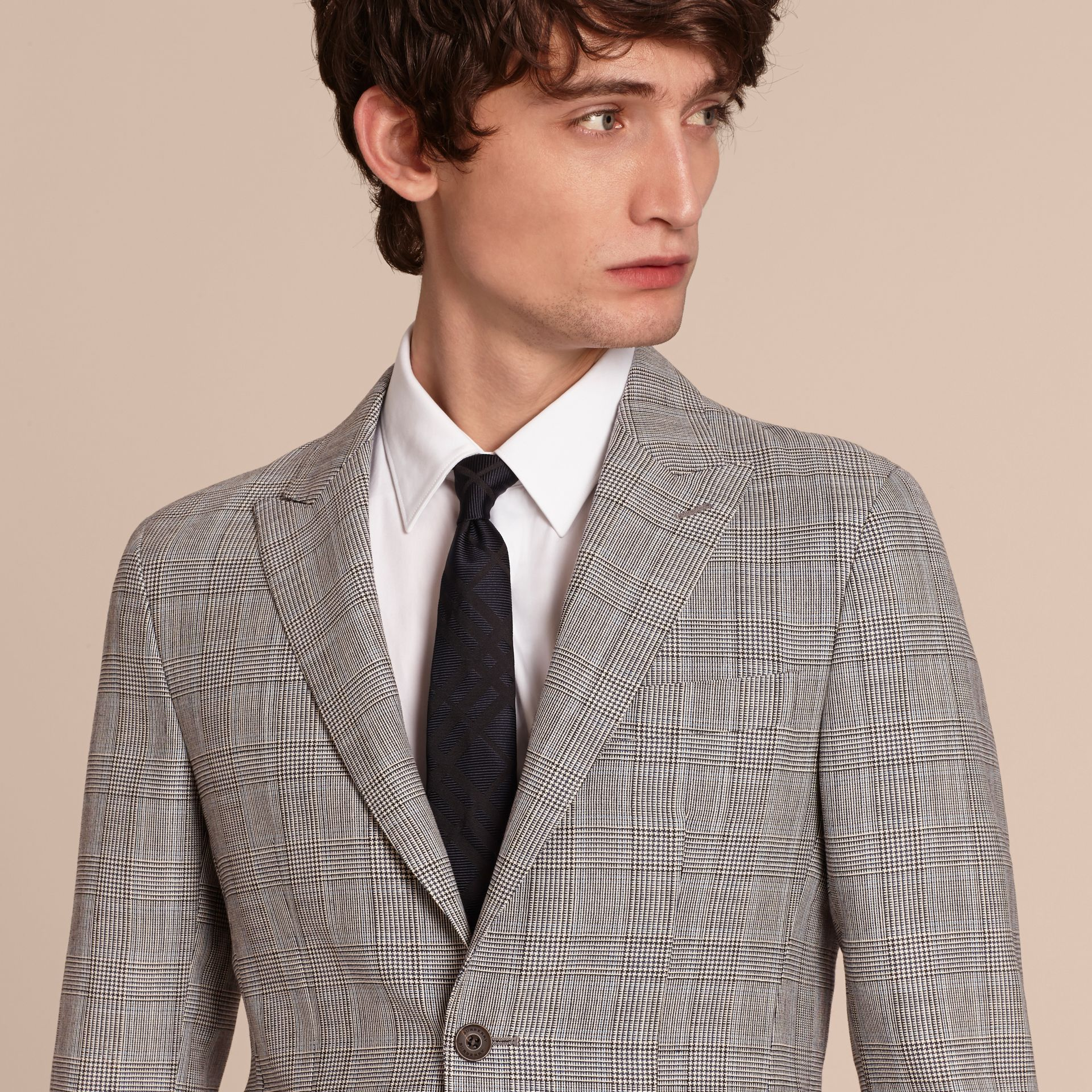 Pale grey Slim Fit Prince of Wales Check Wool Half-canvas Suit - gallery image 5