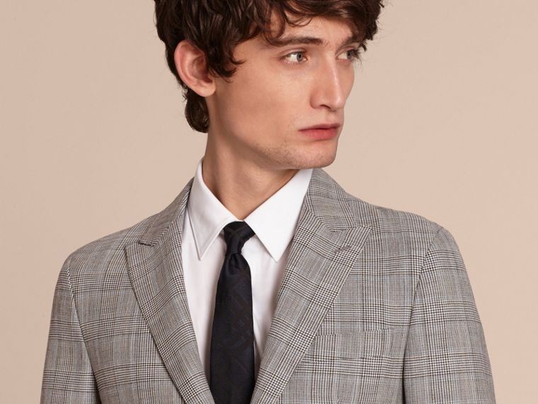 Pale grey Slim Fit Prince of Wales Check Wool Half-canvas Suit - cell image 4