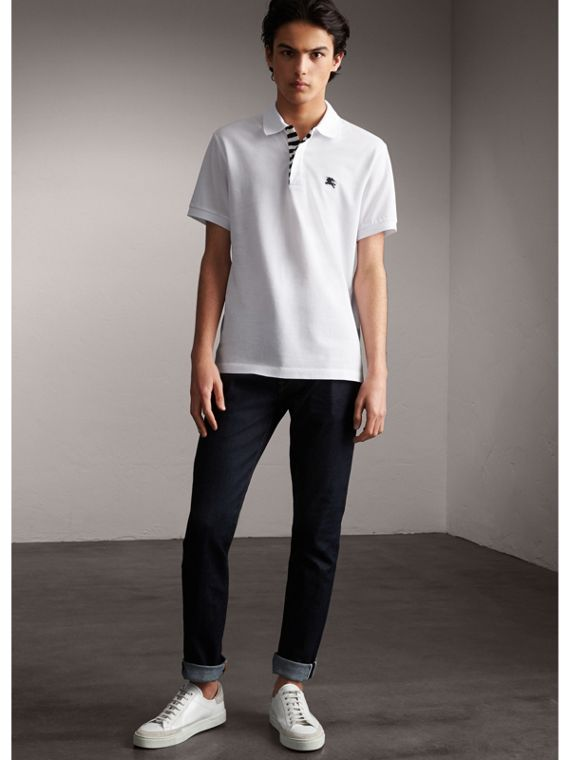 Striped Placket Cotton Piqué Polo Shirt in White