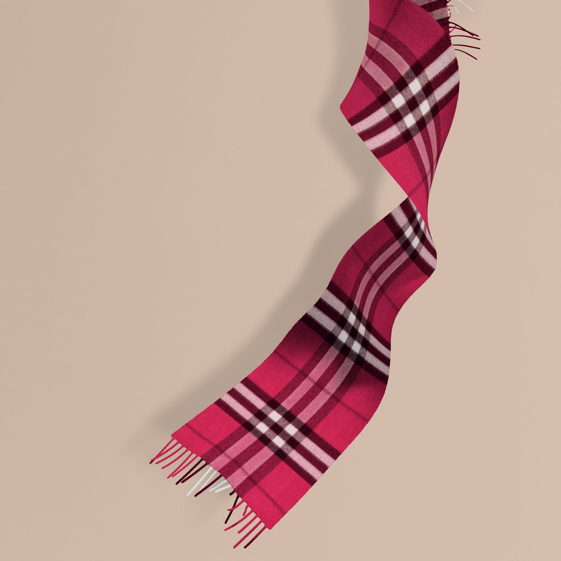 The Mini Classic Cashmere Scarf in Check in Fuchsia Pink - Girl | Burberry - gallery image 1
