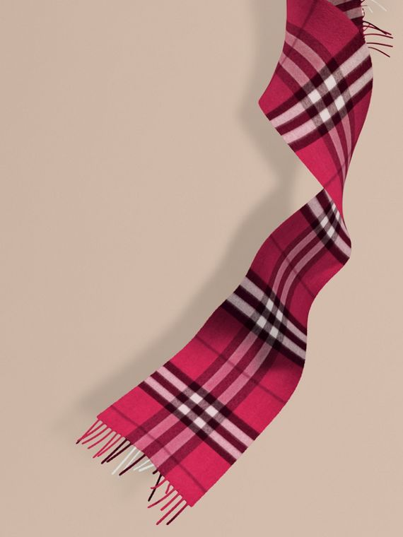 The Mini Classic Cashmere Scarf in Check in Fuchsia Pink