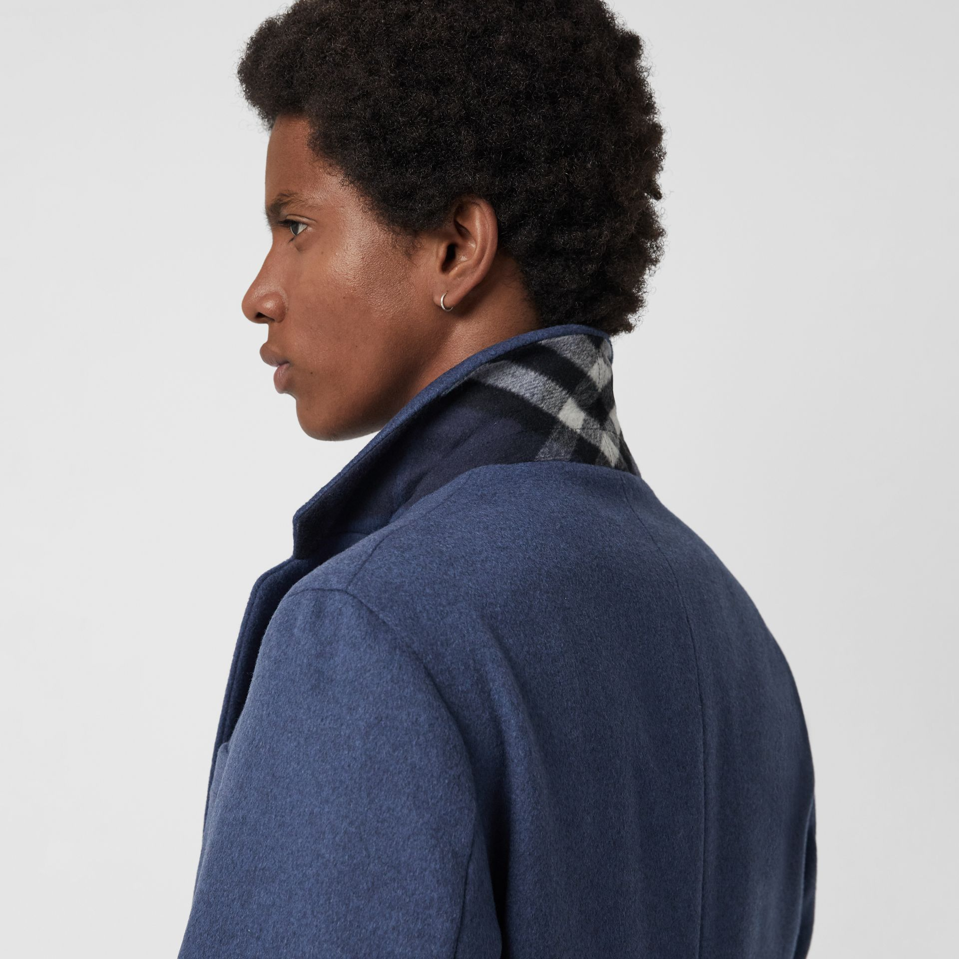 Wool Cashmere Tailored Coat in Dark Canvas Blue - Men | Burberry - gallery image 1
