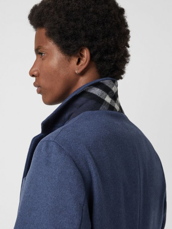 Wool Cashmere Tailored Coat in Dark Canvas Blue - Men | Burberry United Kingdom - cell image 1