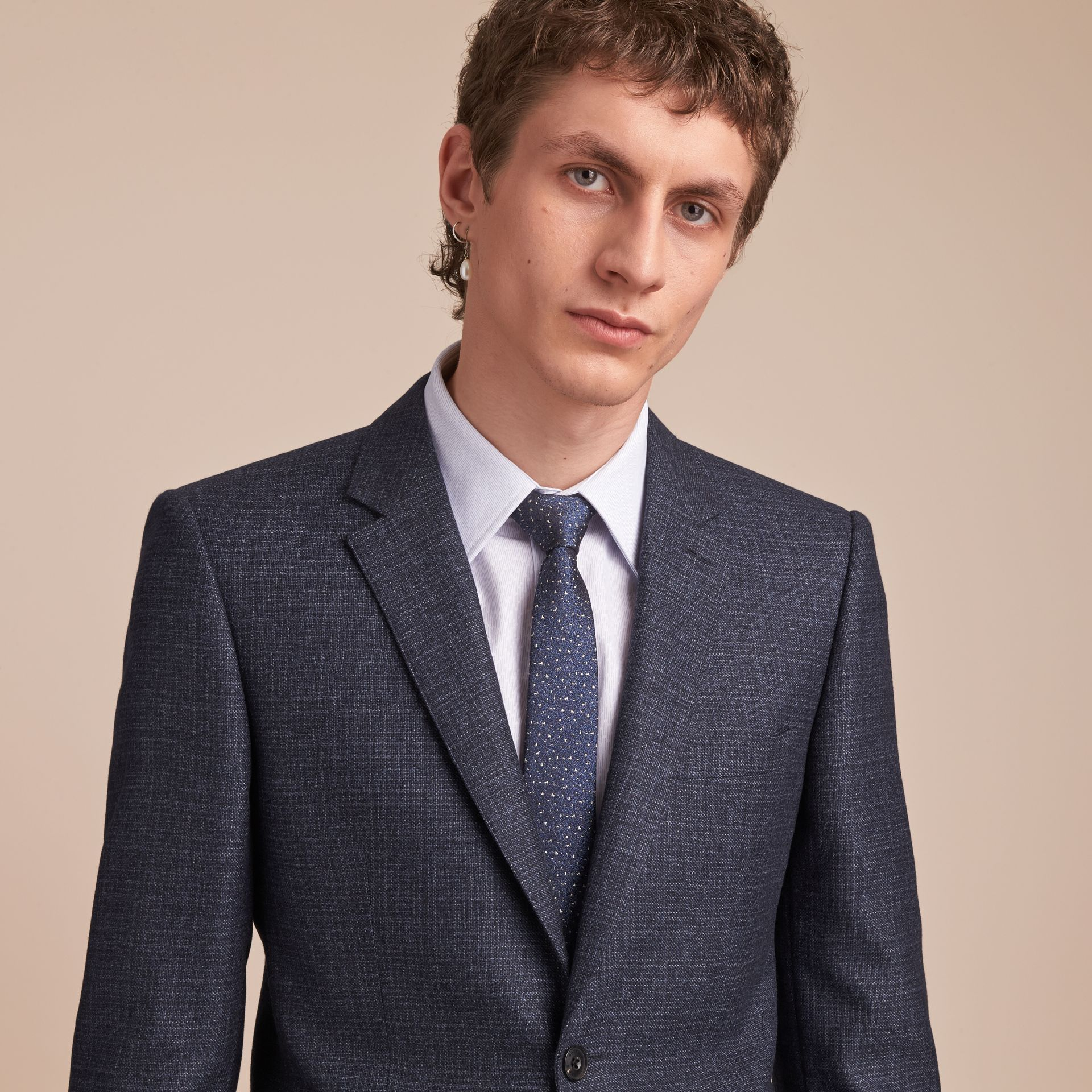 Slim Fit Lightweight Wool Part-canvas Suit in Bright Navy - Men | Burberry - gallery image 5