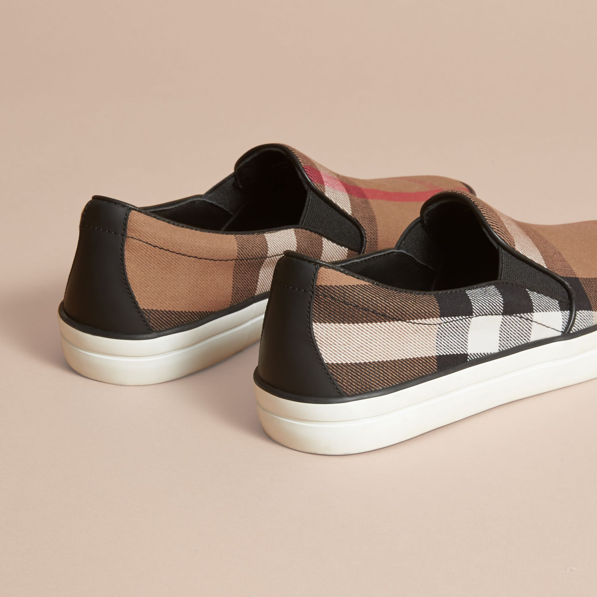 House Check Cotton and Leather Slip-on Trainers - Women | Burberry - gallery image 4