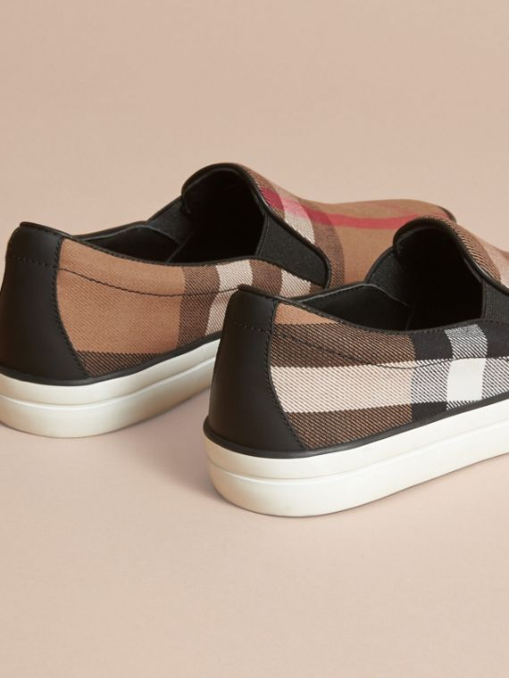 House Check Cotton and Leather Slip-on Trainers - Women | Burberry - cell image 3
