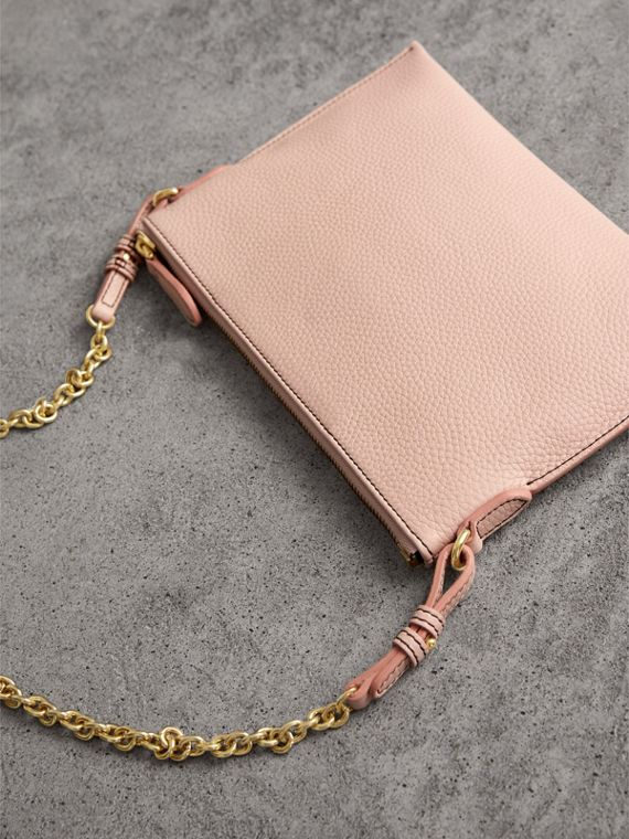 Embossed Leather Clutch Bag in Pale Ash Rose - Women | Burberry - cell image 2