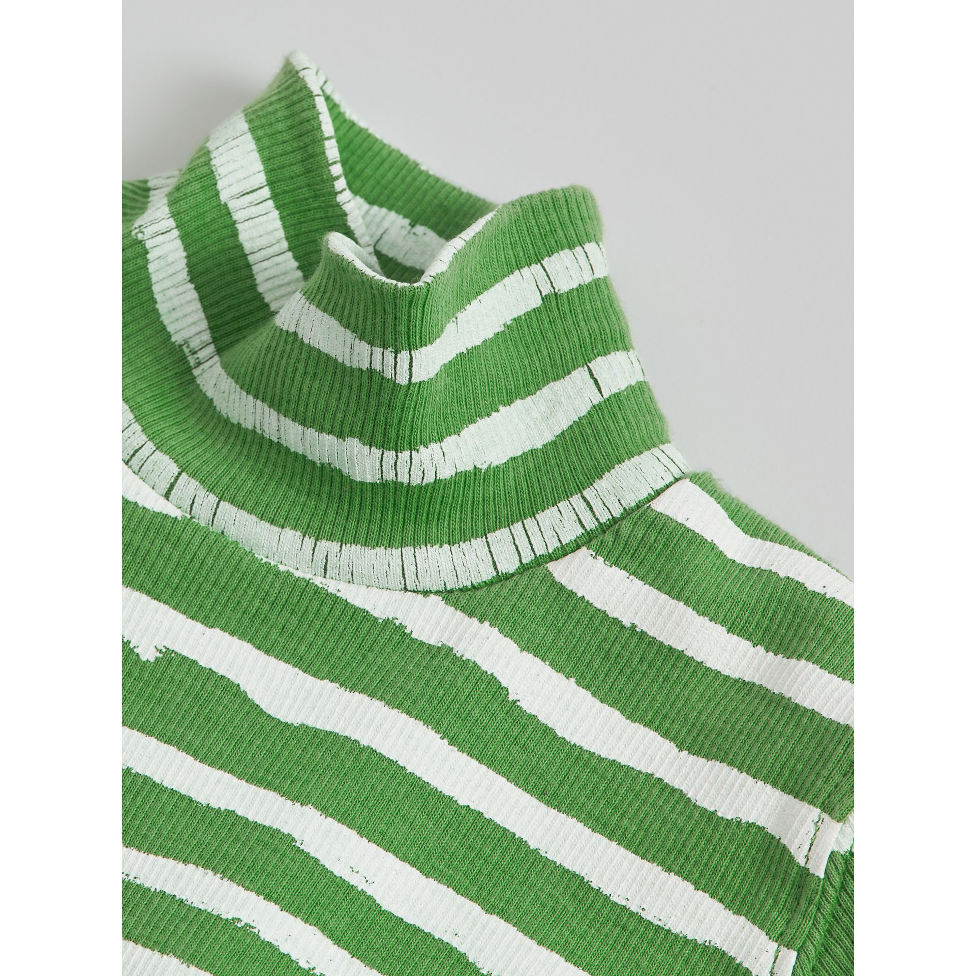 Roll-neck Spot and Stripe Print Cotton Top in Bright Green | Burberry - gallery image 1