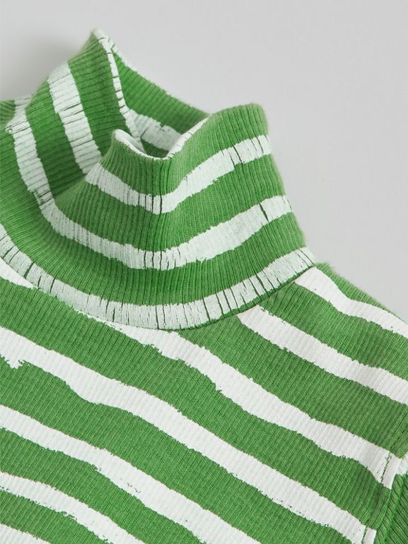 Roll-neck Spot and Stripe Print Cotton Top in Bright Green - Children | Burberry - cell image 1