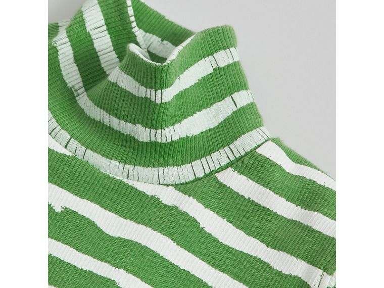 Roll-neck Spot and Stripe Print Cotton Top in Bright Green | Burberry - cell image 1