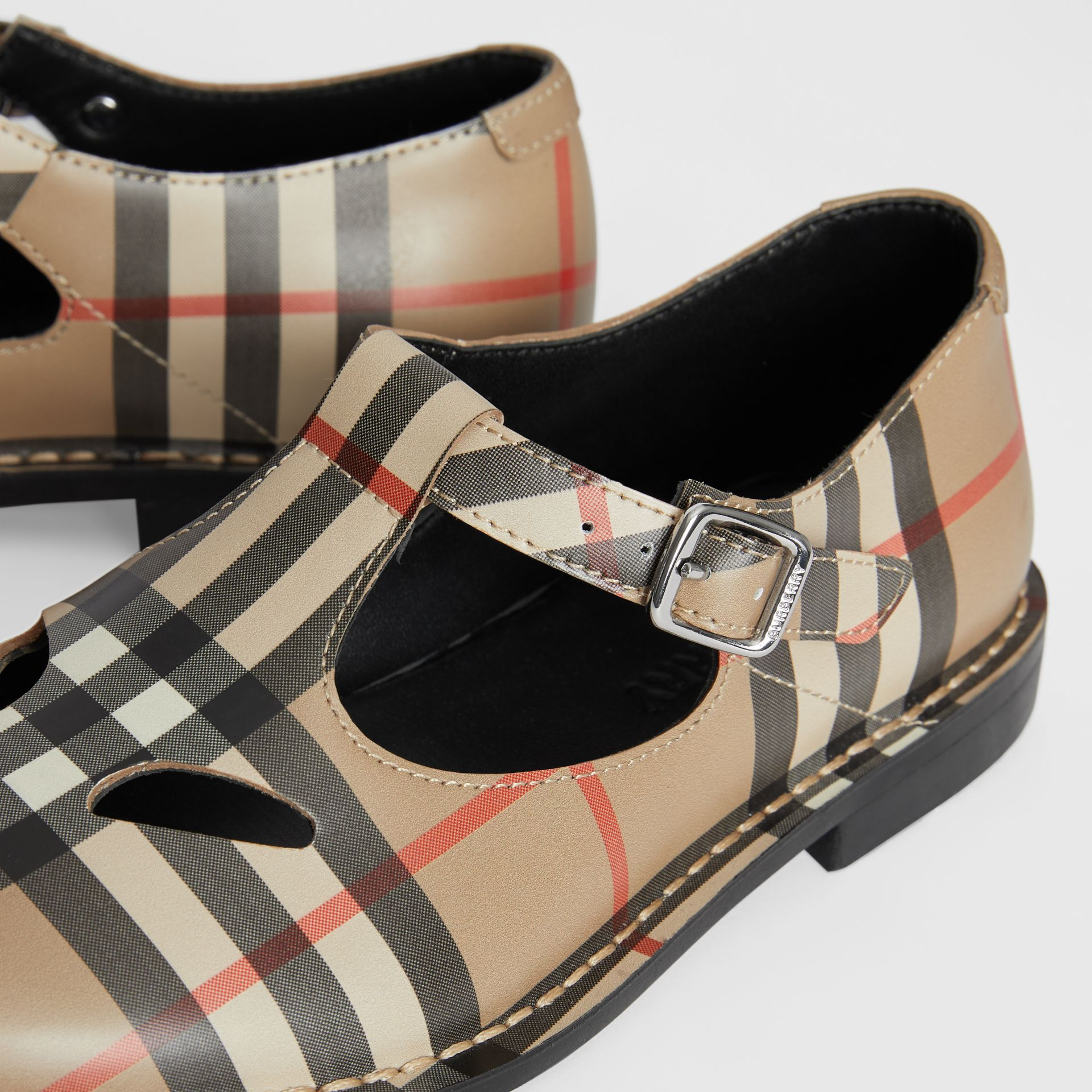 Vintage Check Leather Mary Jane Shoes in Archive Beige - Children | Burberry Hong Kong - gallery image 1