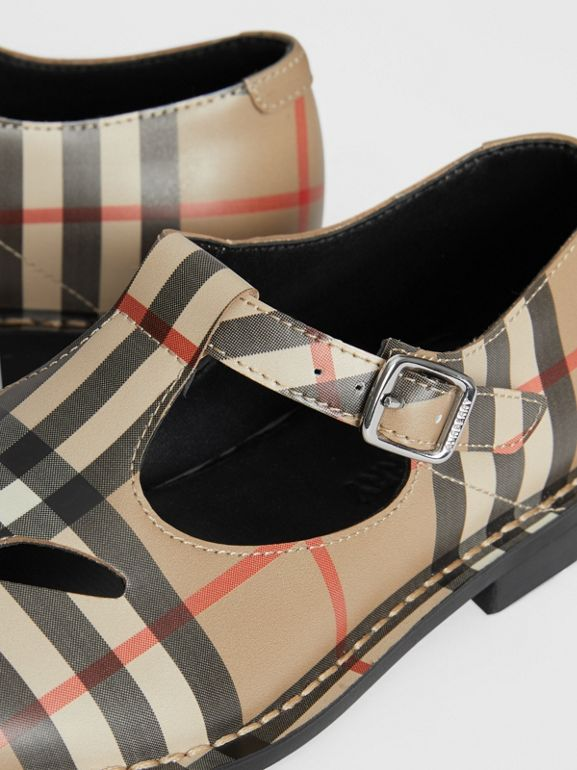 Vintage Check Leather Mary Jane Shoes in Archive Beige - Children | Burberry Hong Kong - cell image 1