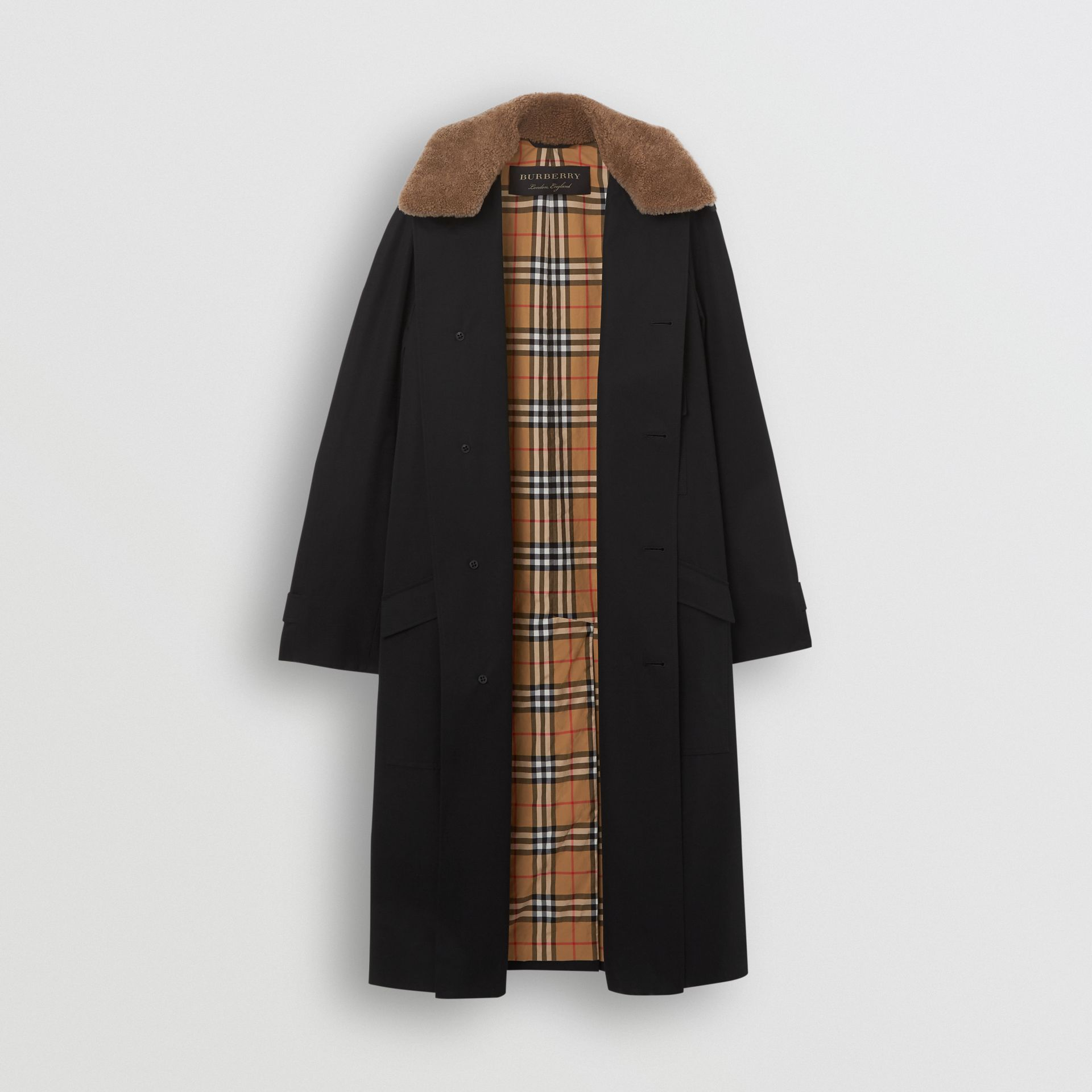 Contrast Shearling Collar Cotton Car Coat in Black - Men | Burberry Singapore - gallery image 3