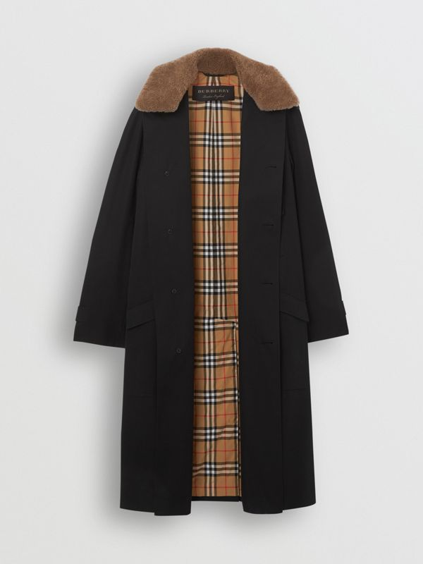 Contrast Shearling Collar Cotton Car Coat in Black - Men | Burberry Singapore - cell image 3