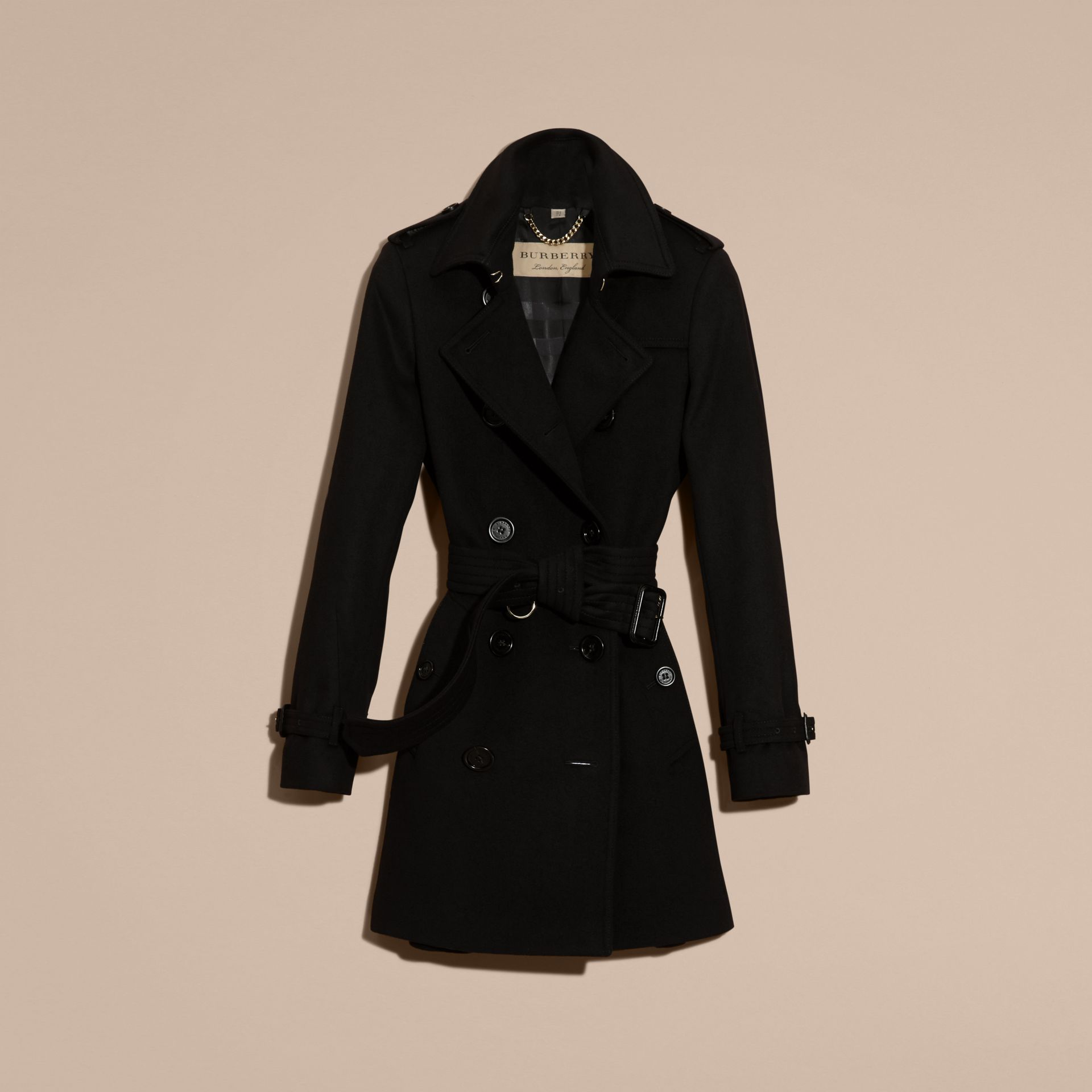 Black Wool Cashmere Trench Coat Black - gallery image 4