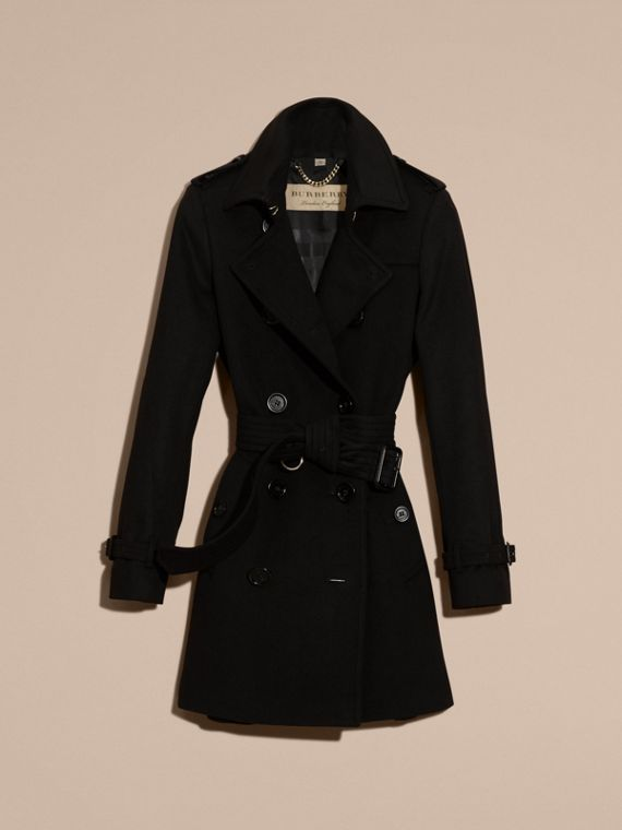 Trench coat in lana e cashmere Nero - cell image 3