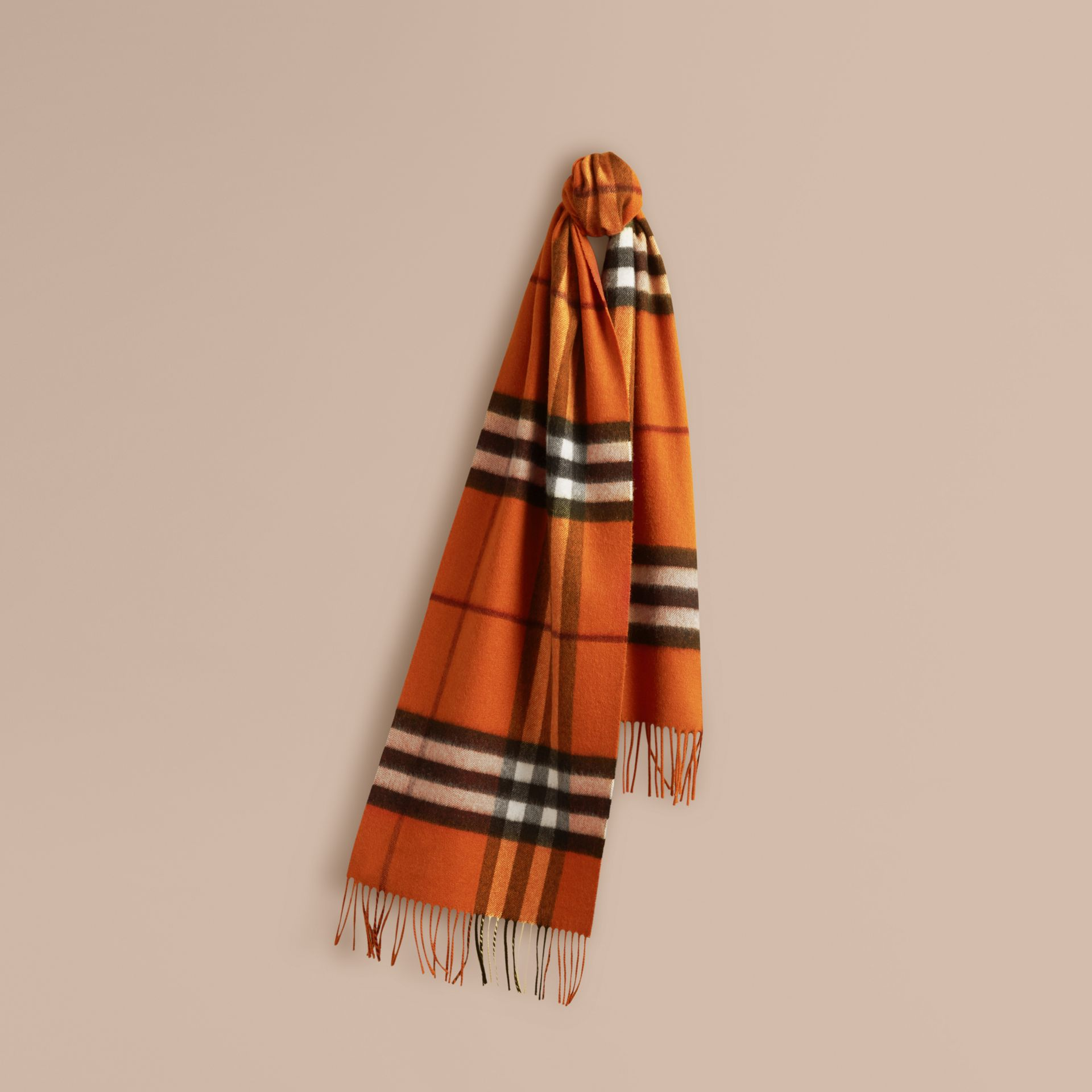 The Classic Cashmere Scarf in Check Burnt Orange - gallery image 6