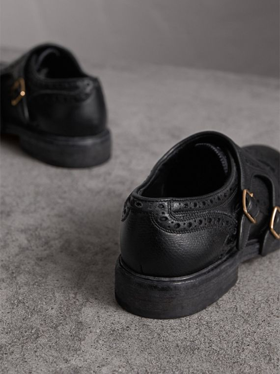 Brogue Detail Textured Leather Monk Shoes in Black - Women | Burberry - cell image 3