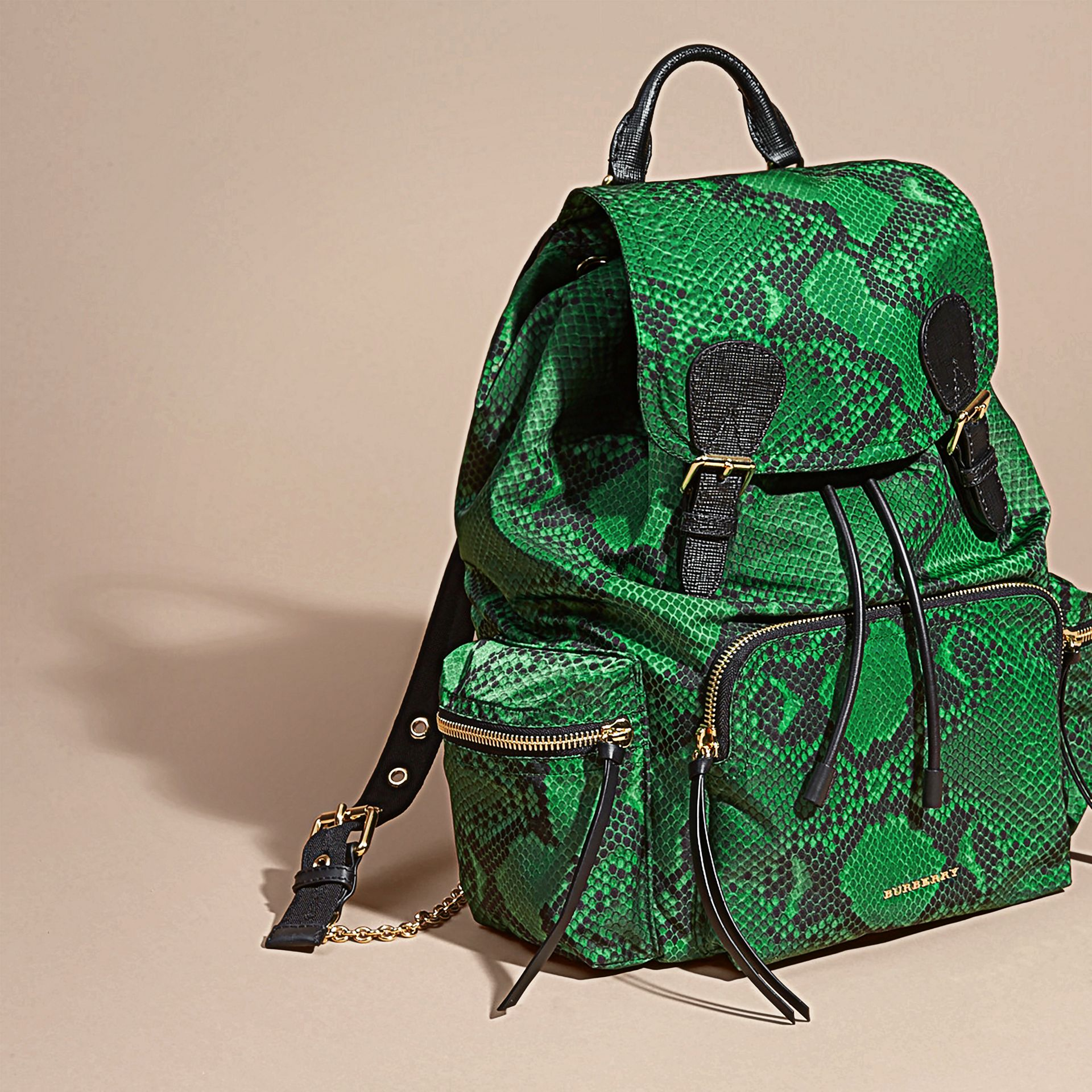 Green The Large Rucksack in Python Print Nylon and Leather Green - gallery image 7