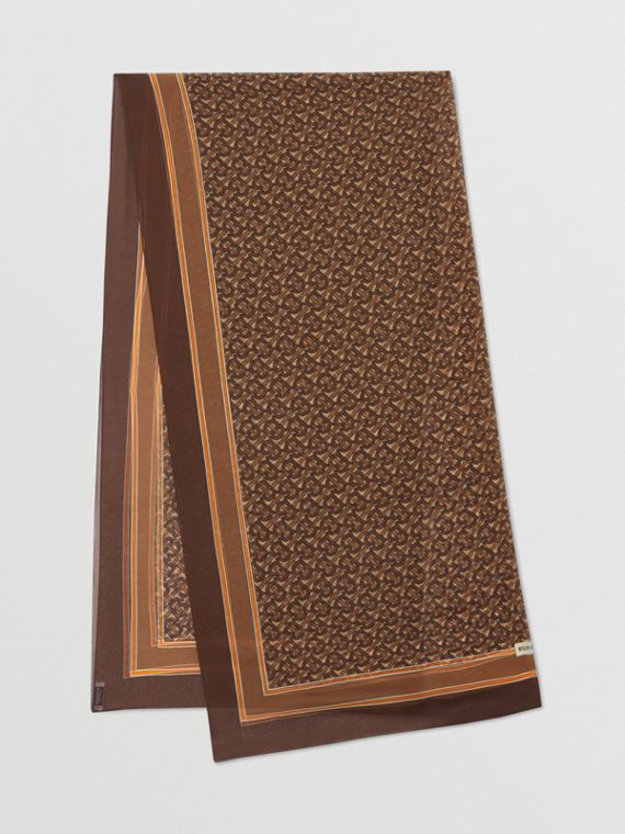 花押字印花絲質雪紡圍巾 (馬勒棕)