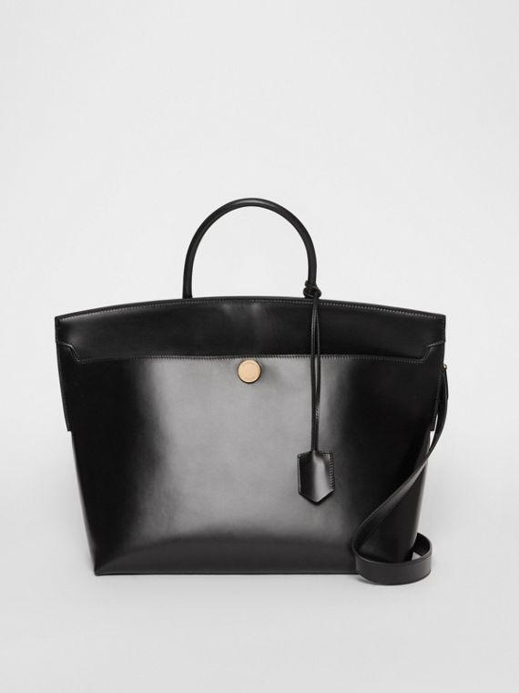 Leather Society Top Handle Bag in Black