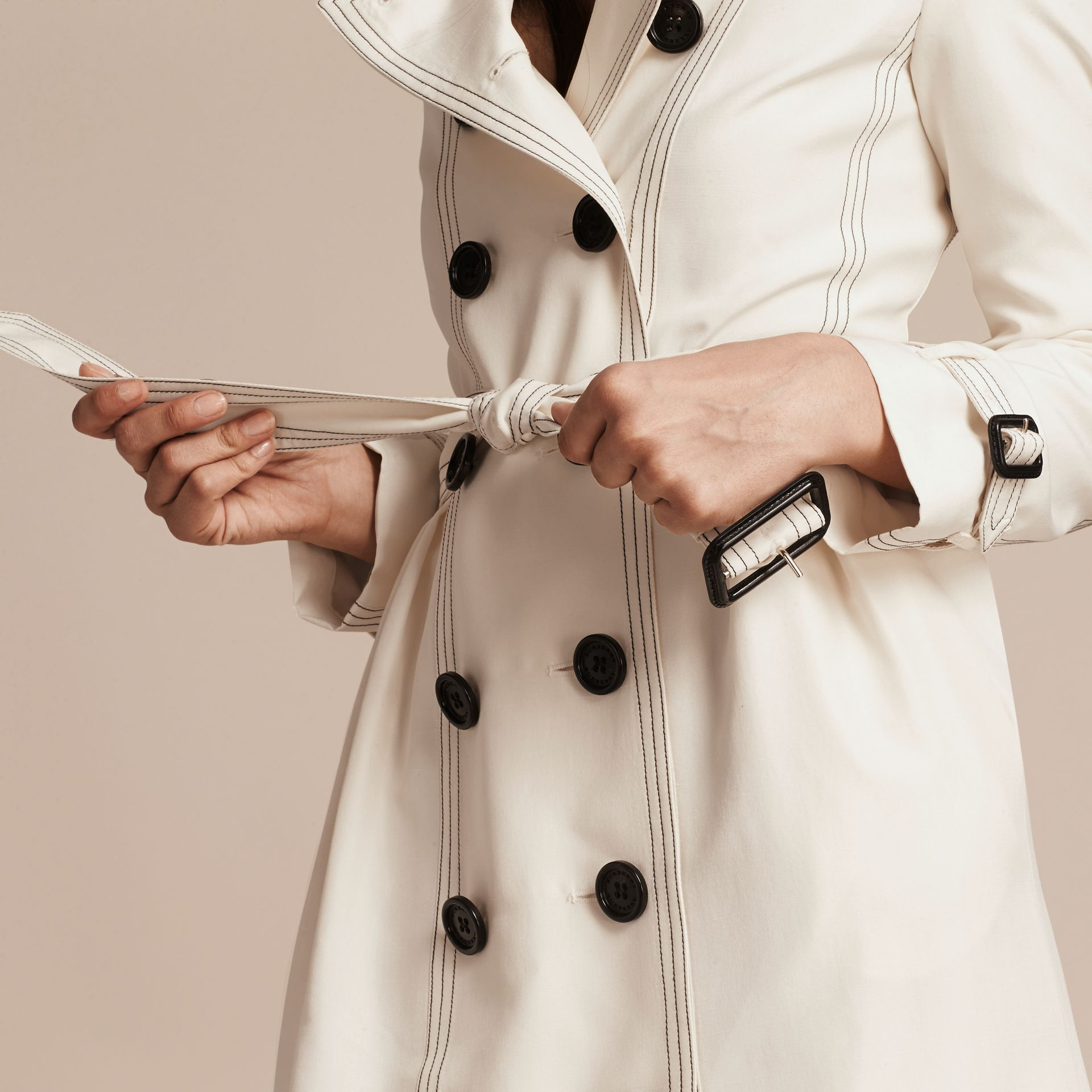 Parchment Silk Trench Coat with Topstitch Detail - gallery image 5