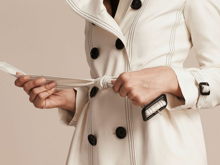 Parchment Silk Trench Coat with Topstitch Detail - cell image 4