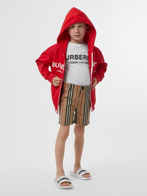 Logo Print Cotton Hooded Top in Bright Red | Burberry - cell image 2