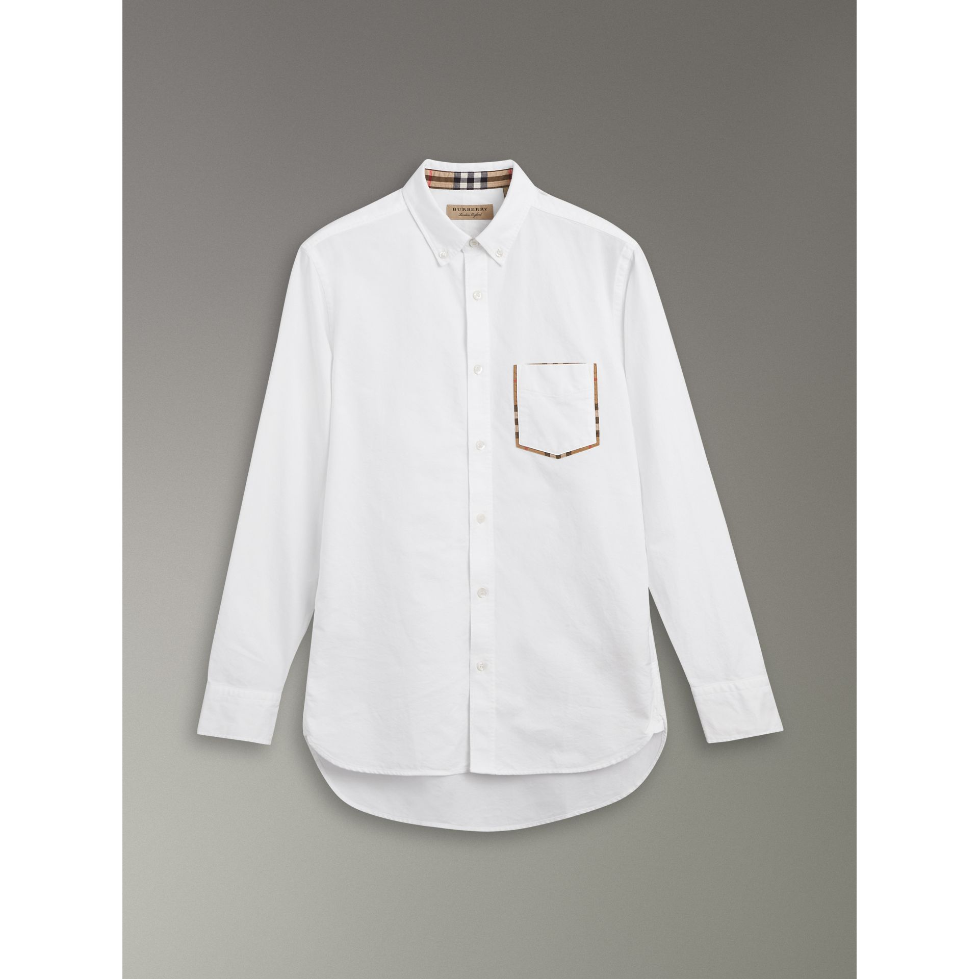 Check Detail Cotton Oxford Shirt in White - Men | Burberry United Kingdom - gallery image 3