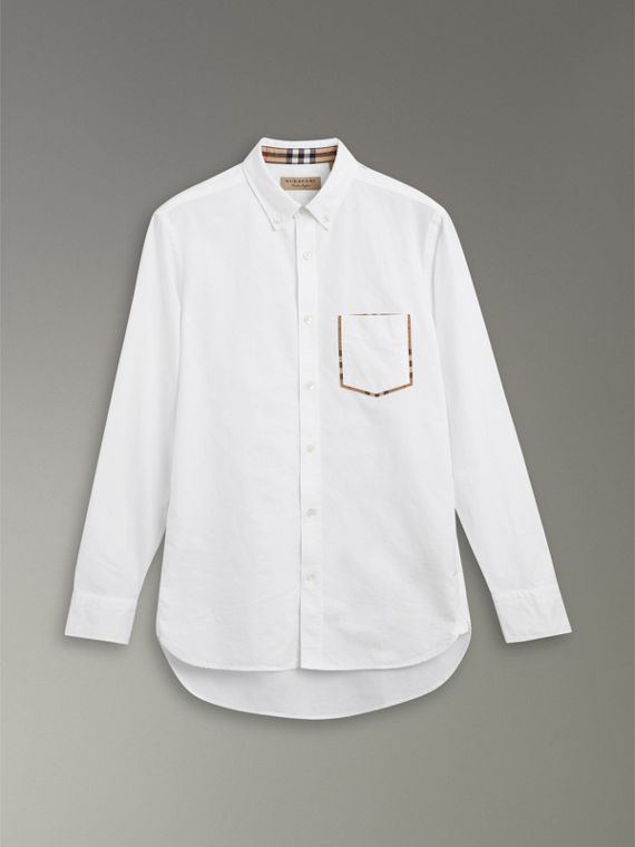 Check Detail Cotton Oxford Shirt in White - Men | Burberry United Kingdom - cell image 3