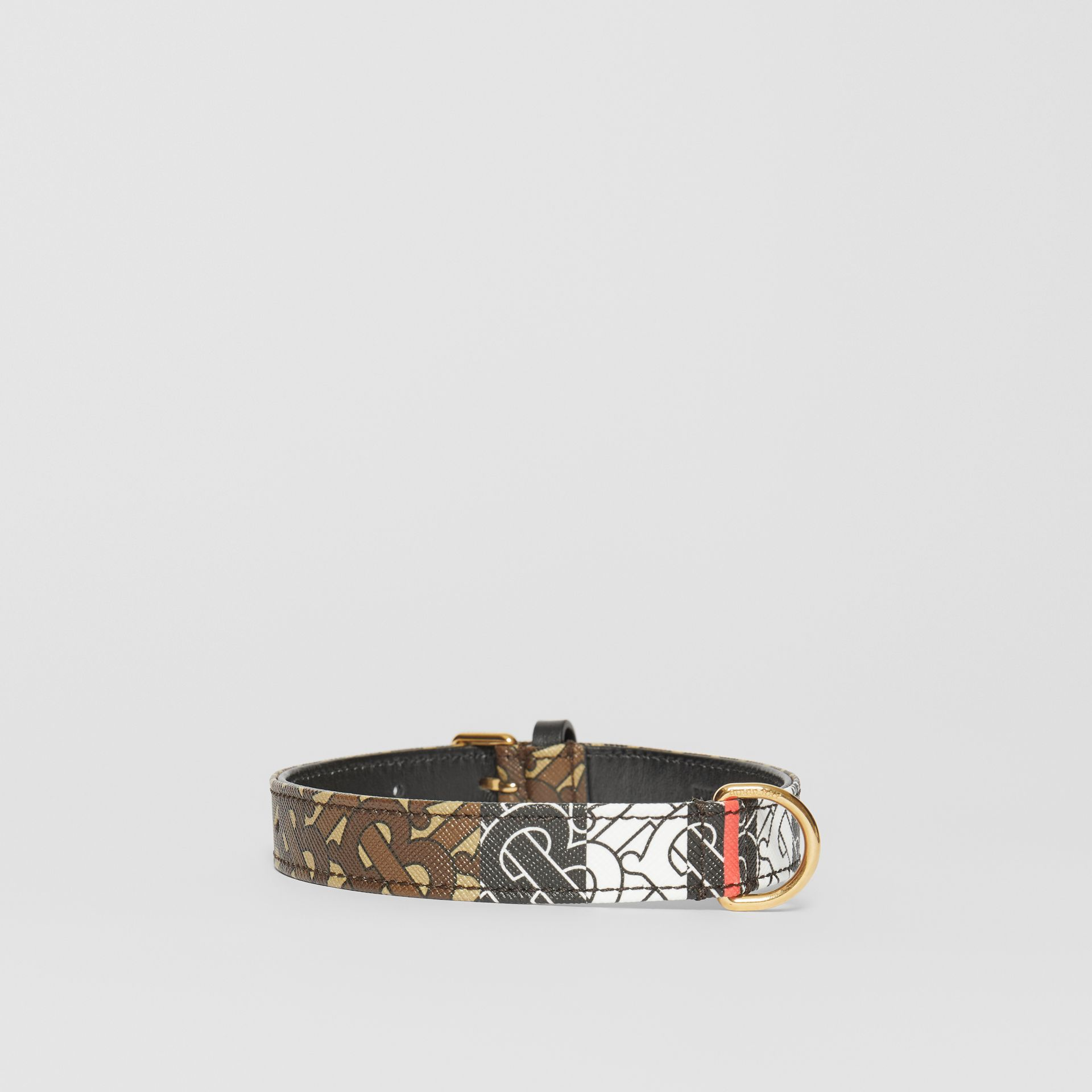 Medium/Large Monogram Stripe E-canvas Dog Collar in Bridle Brown | Burberry United States - gallery image 3