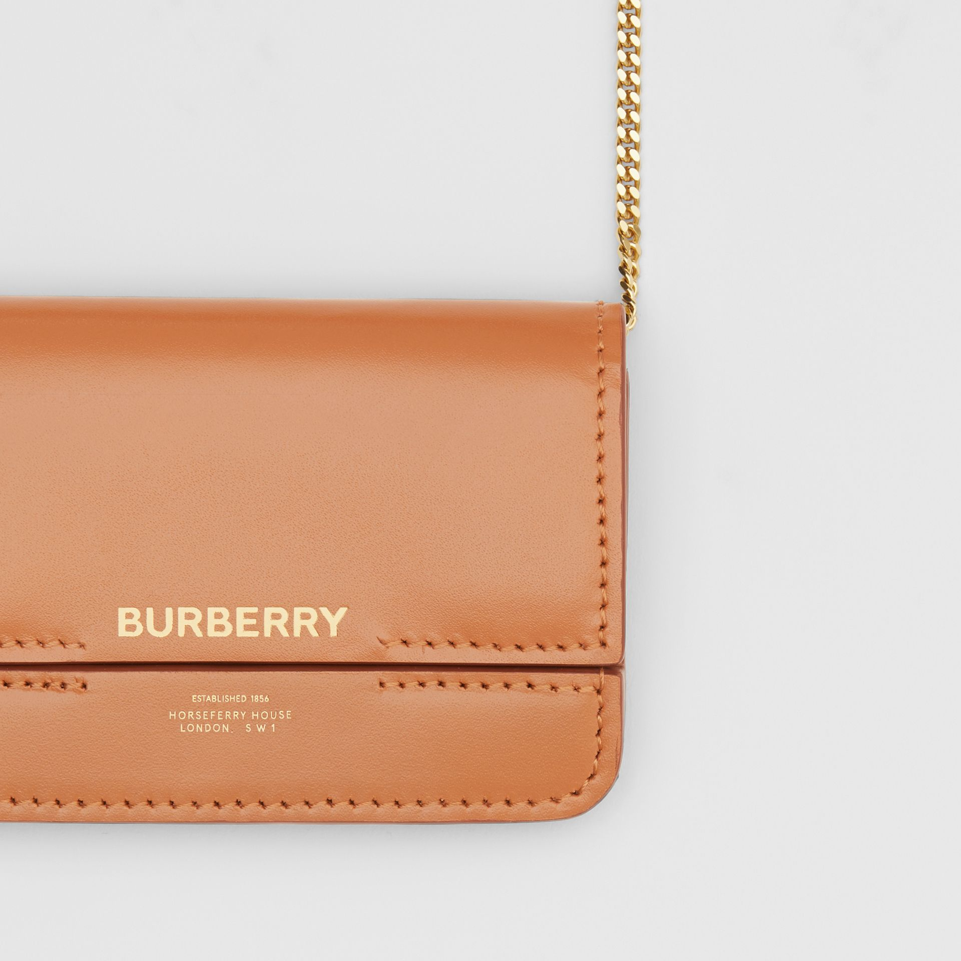 Horseferry Print Foldover Card Case with Detachable Strap in Nutmeg - Women | Burberry - gallery image 1