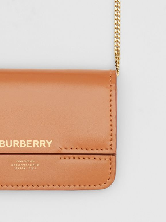Horseferry Print Foldover Card Case with Detachable Strap in Nutmeg - Women | Burberry - cell image 1