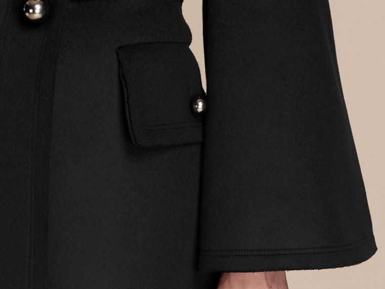Black Bell-sleeved Wool Military Coat - cell image 4