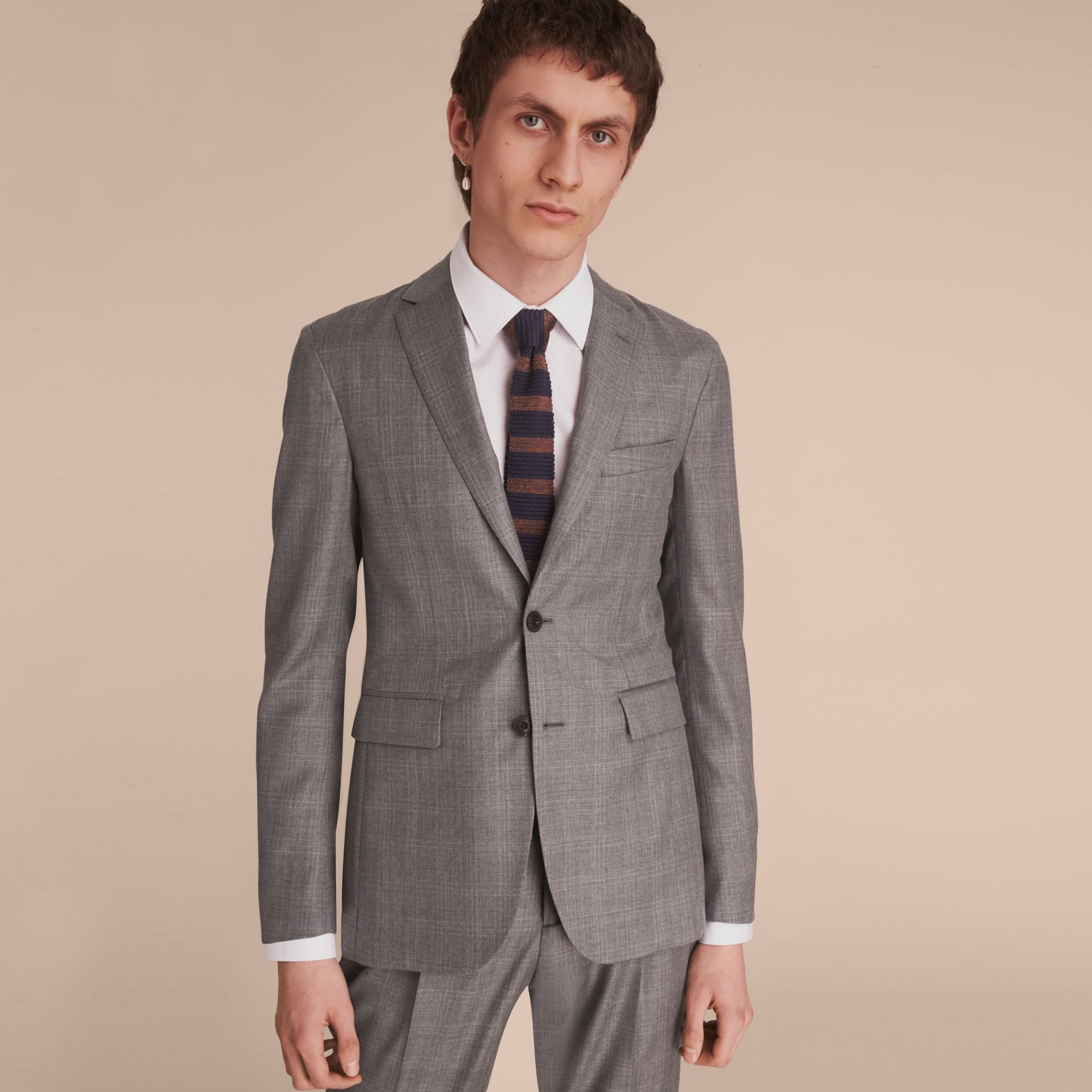 Slim Fit Prince of Wales Check Wool Part-canvas Suit in Pale Grey - Men | Burberry - gallery image 6