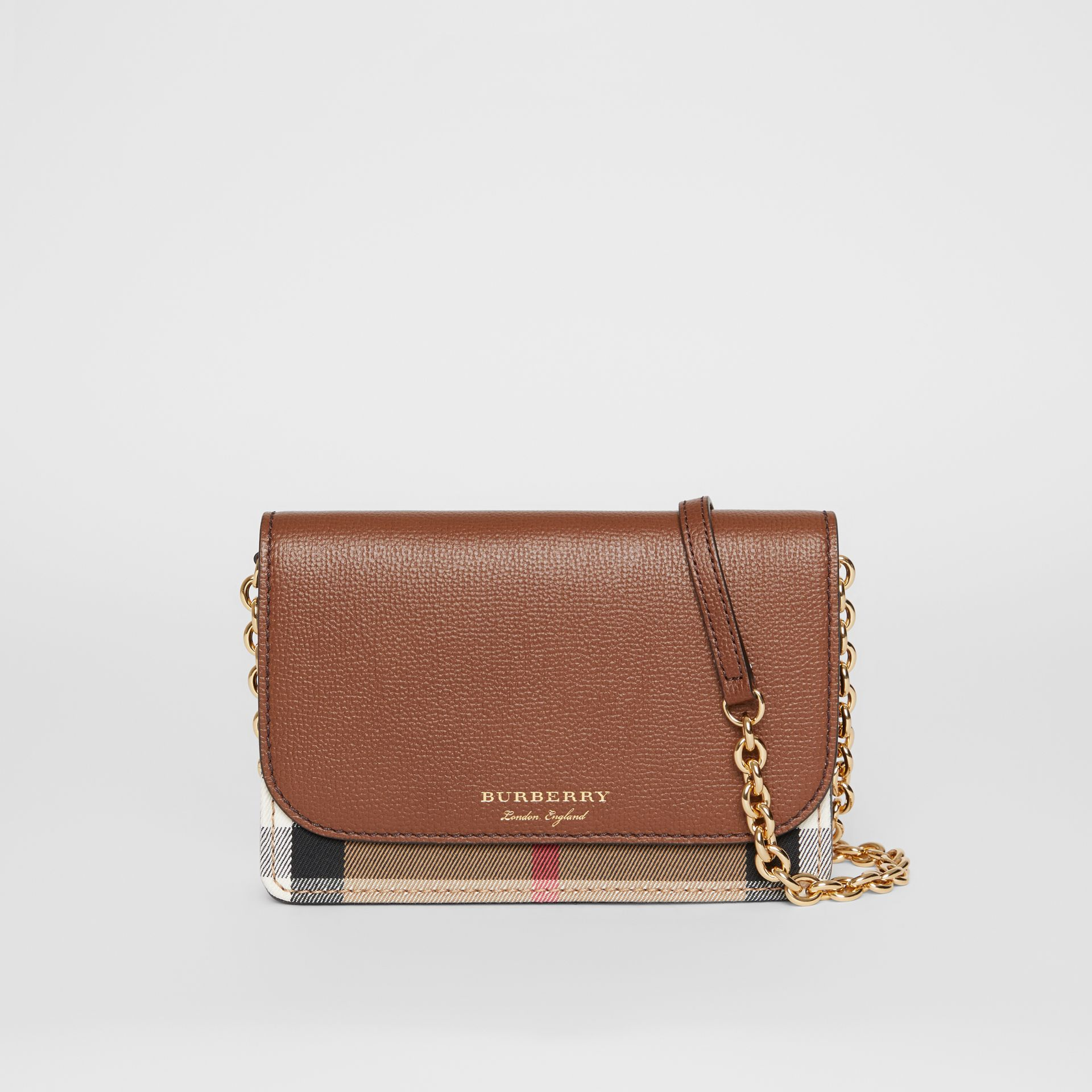 Leather and House Check Wallet with Detachable Strap in Tan - Women | Burberry Australia - gallery image 0
