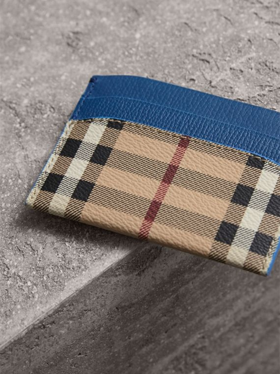 Haymarket Check and Leather Card Case in Mineral Blue - Women | Burberry - cell image 2