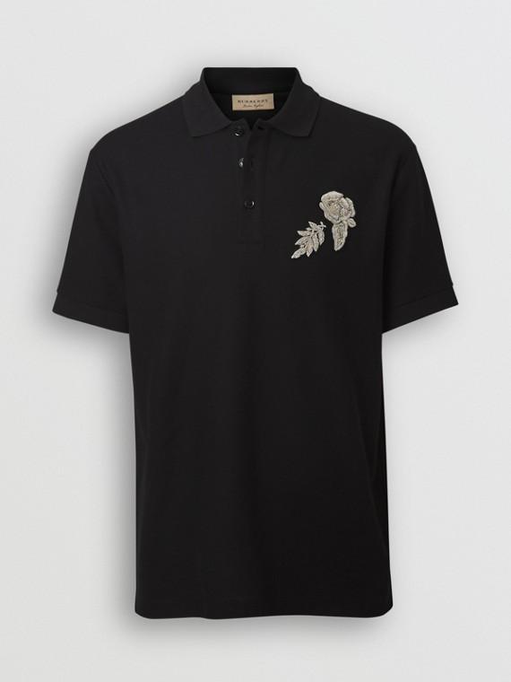 Polo en piqué de algodón con detalle floral (Negro) 9e92f9c21f5