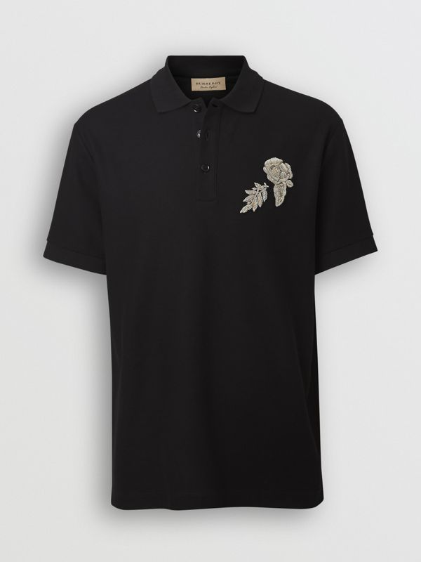 Bullion Floral Cotton Piqué Polo Shirt in Black - Men | Burberry United Kingdom - cell image 3