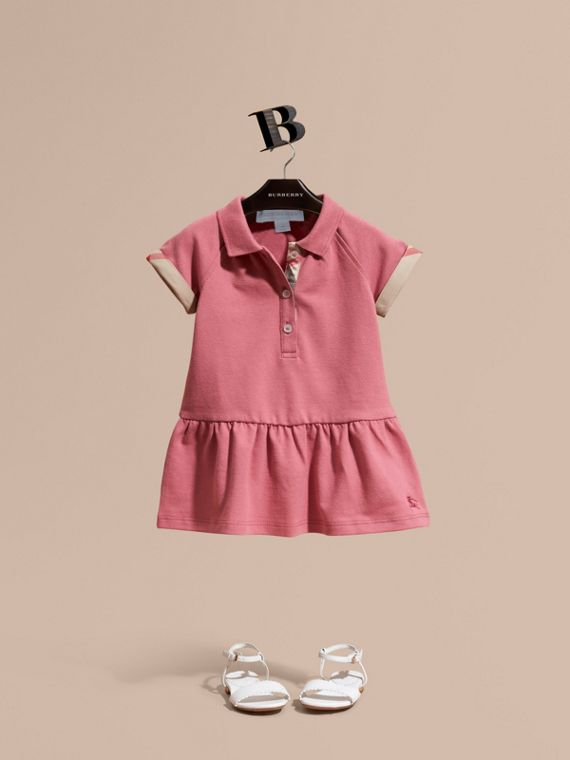 Check Detail Stretch Cotton Piqué Dress Pink Azalea