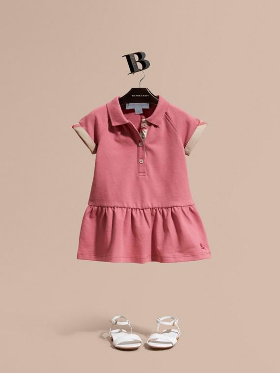 Платье из эластичного хлопка-пике с отделкой в клетку Розовая Азалия