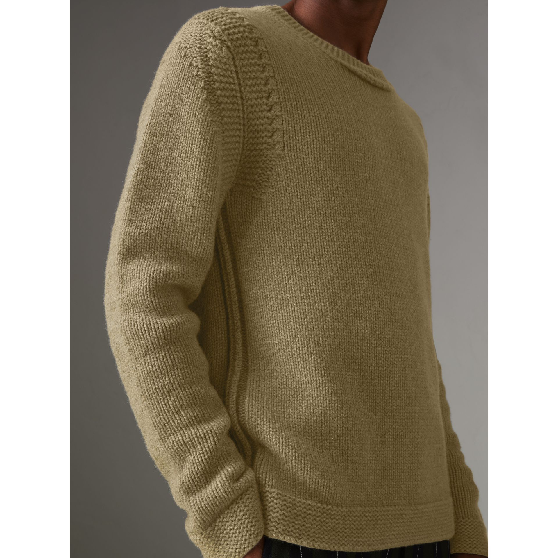 Link Stitch Detail Cashmere Sweater in Clay Green - Men | Burberry - gallery image 1