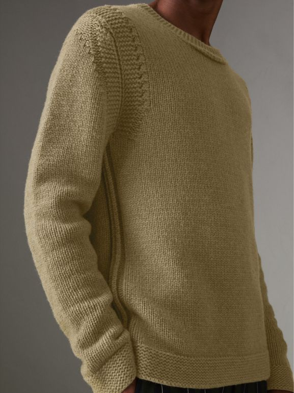 Link Stitch Detail Cashmere Sweater in Clay Green - Men | Burberry - cell image 1