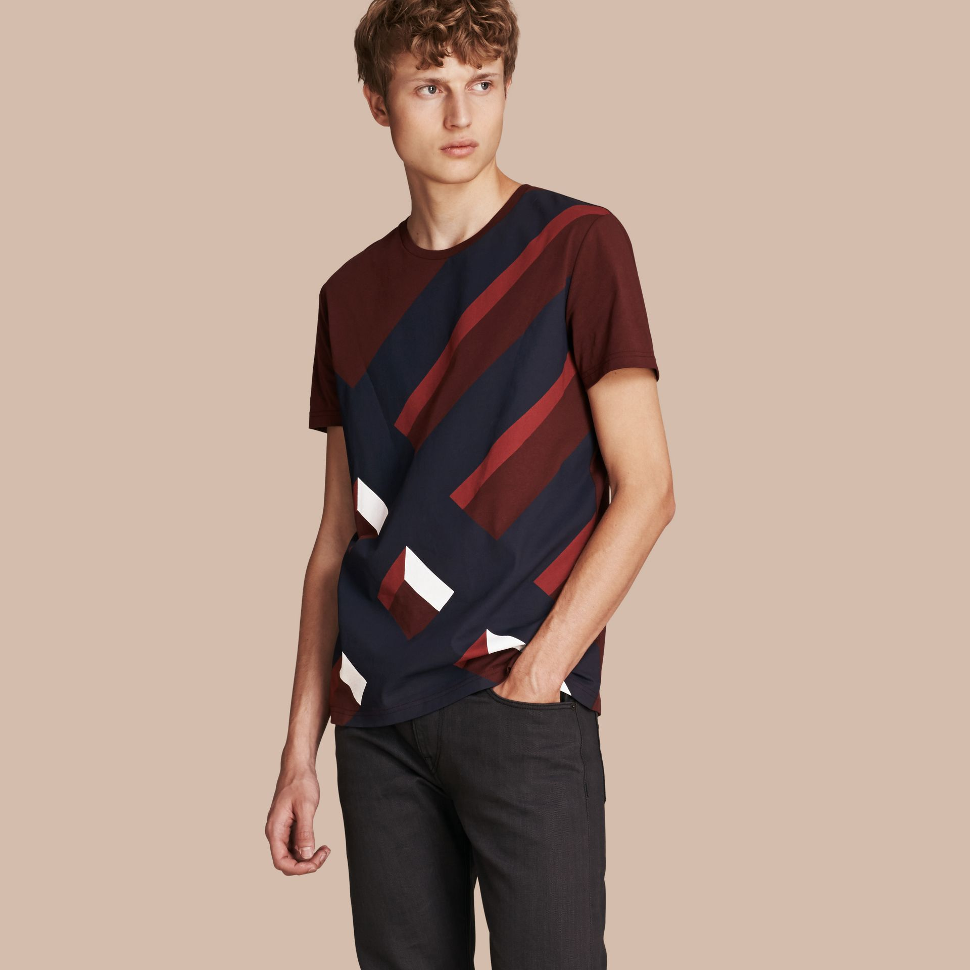 Abstract Check Print Cotton T-shirt Deep Claret - gallery image 1