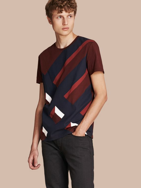 Abstract Check Print Cotton T-shirt Deep Claret