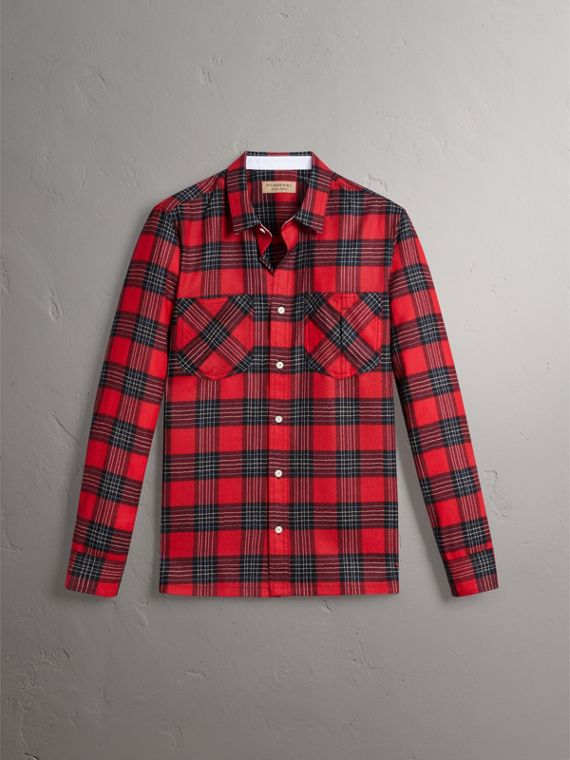 Tartan Wool Shirt in Parade Red - Men | Burberry - cell image 3