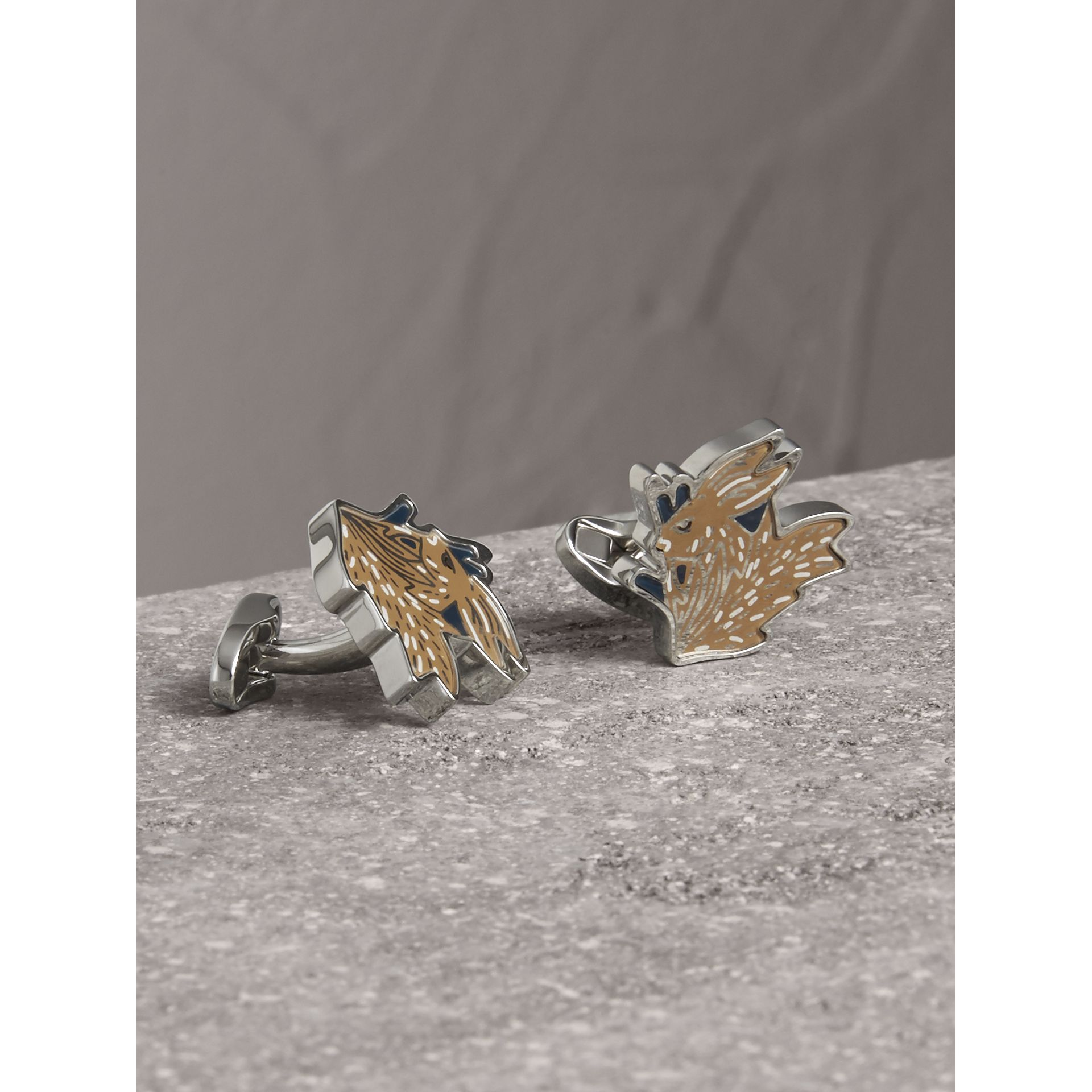 Beasts Brass Cufflinks in Silver - Men | Burberry - gallery image 1