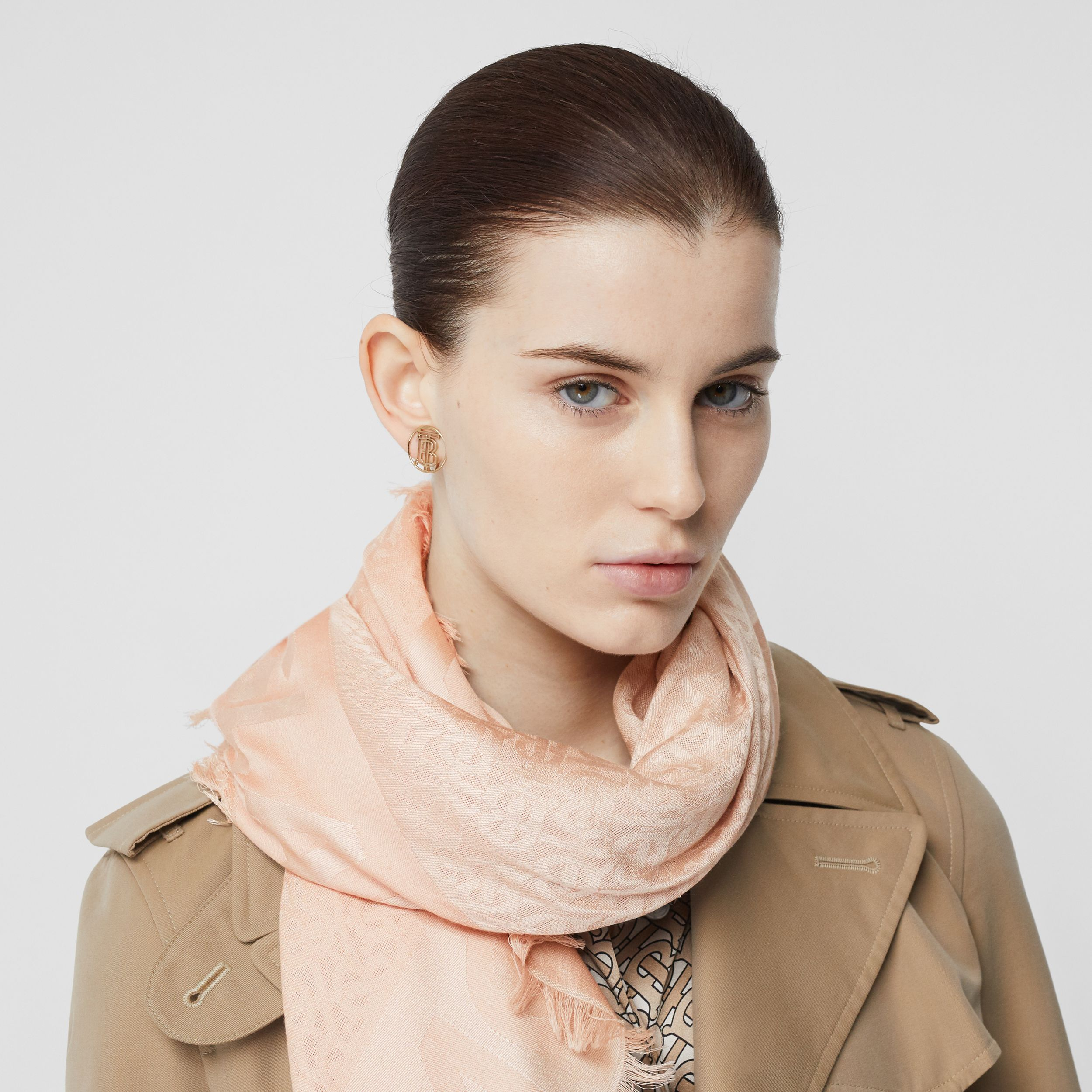 Monogram Silk Wool Jacquard Large Square Scarf in Rose Beige | Burberry - 3